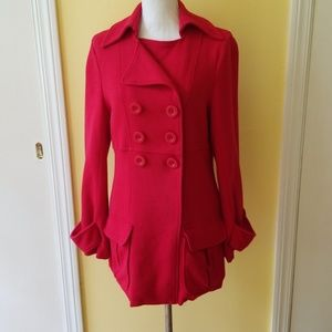 Banana Republic Red Knit Double Breasted Coat
